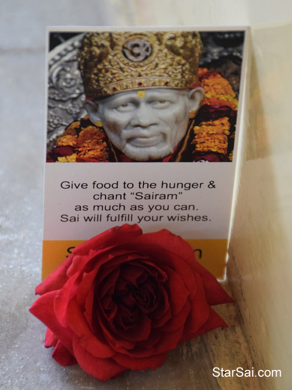 Saibaba with Red Rose