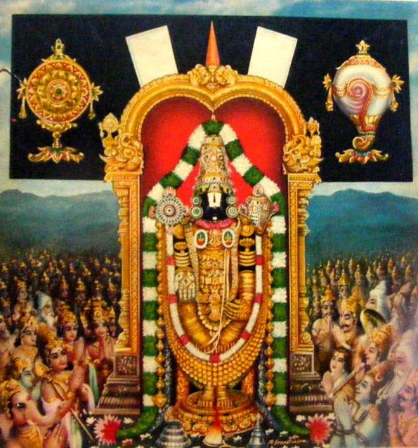 Lord Venkateswara in Tirupati hills giving darshan to all Gods and devars