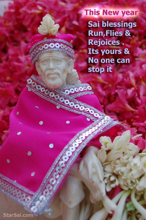 Shirdi saibaba new year greetings 5 star sai my blessings will reach you like garland of flowers saibaba of shirdi m4hsunfo