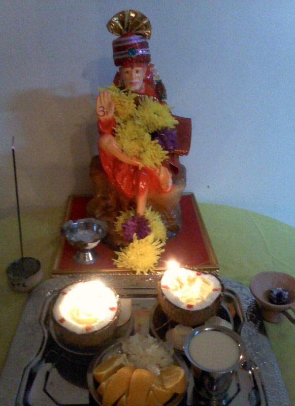 shirdi saibaba coconut lamps pooja