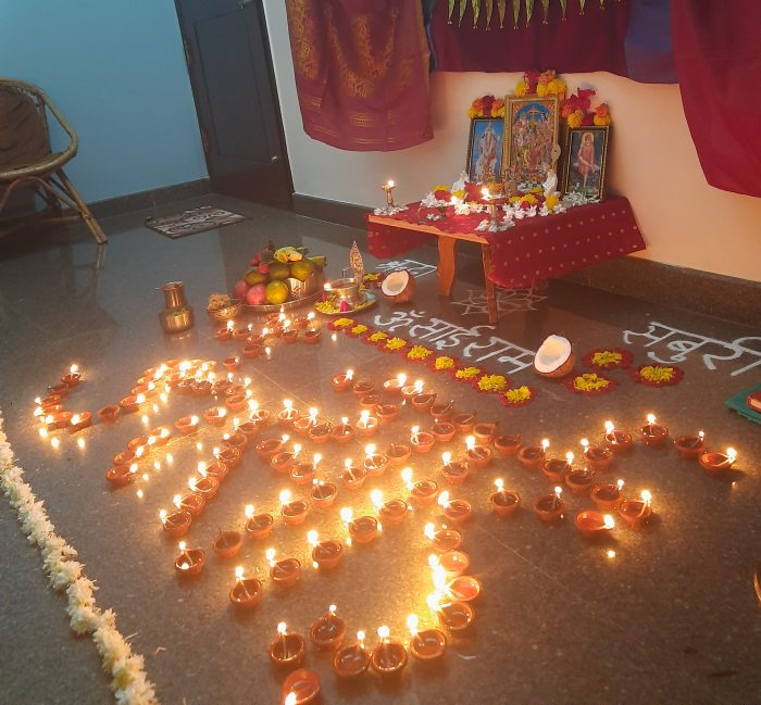 Om Sai Ram lamps pooja with 108 lamps